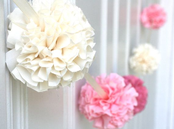 Paper flowers, balloons and pompoms