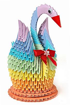 Модульное оригами схема цветного лебедя